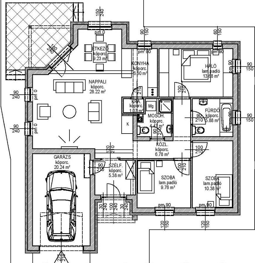 Családi ház tervek garázzsal
